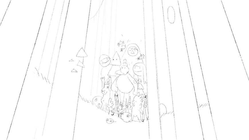 IMAGE: Sketch - Characters emerging from forest