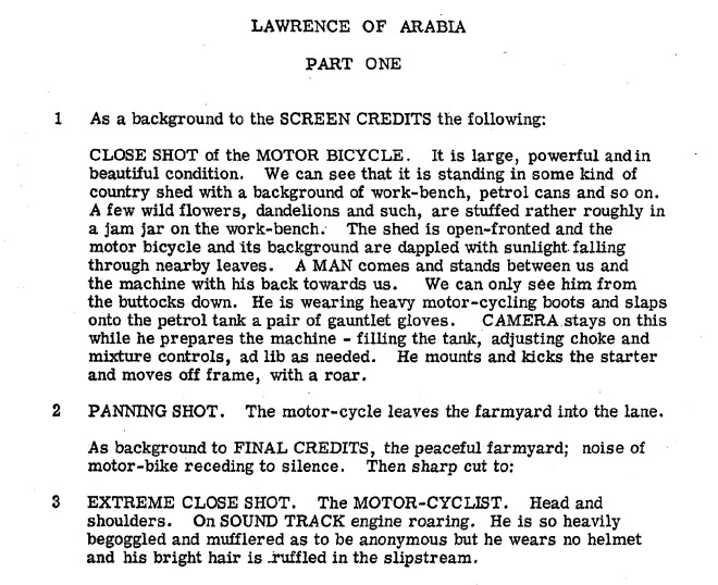 IMAGE: Lawrence of Arabia (1962) Robert Bolt Script Excerpt